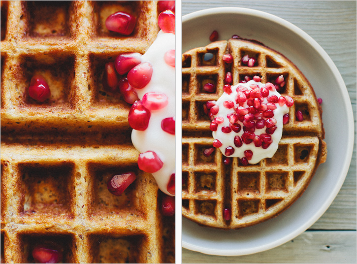 flax waffles pomegranate topping healthy food