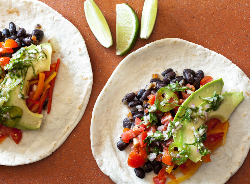 black bean vegan taco avocado