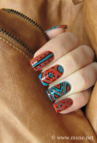 tribal nails blue orange