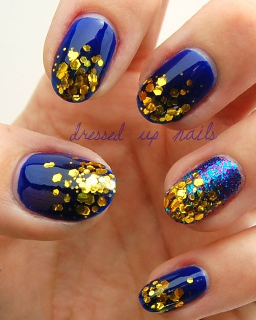 gold glitter navy blue nails