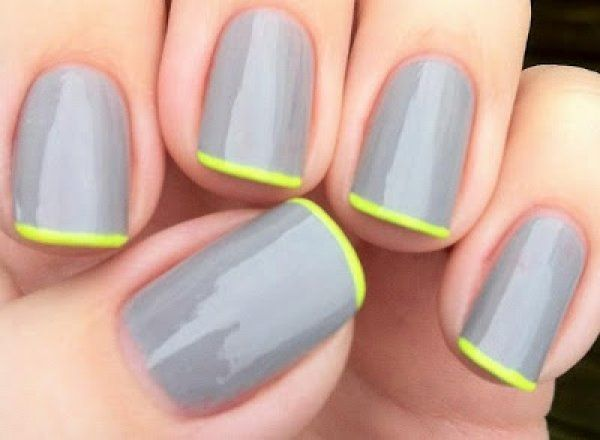 french manicure grey green