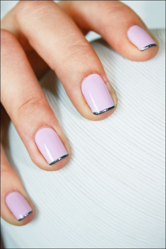 thin french manicure pink grey