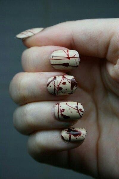 halloween nail art blood spatter