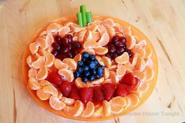 healthy halloween snack orange plate
