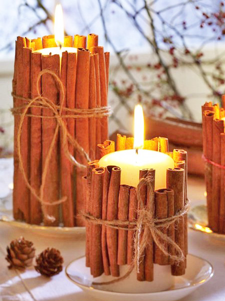 Cinnamon wrapped candles