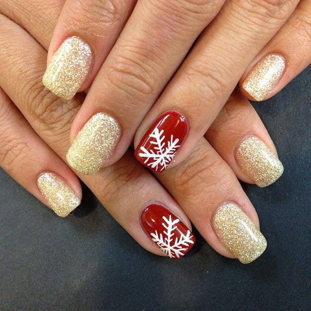 christmas nail art gold glitter