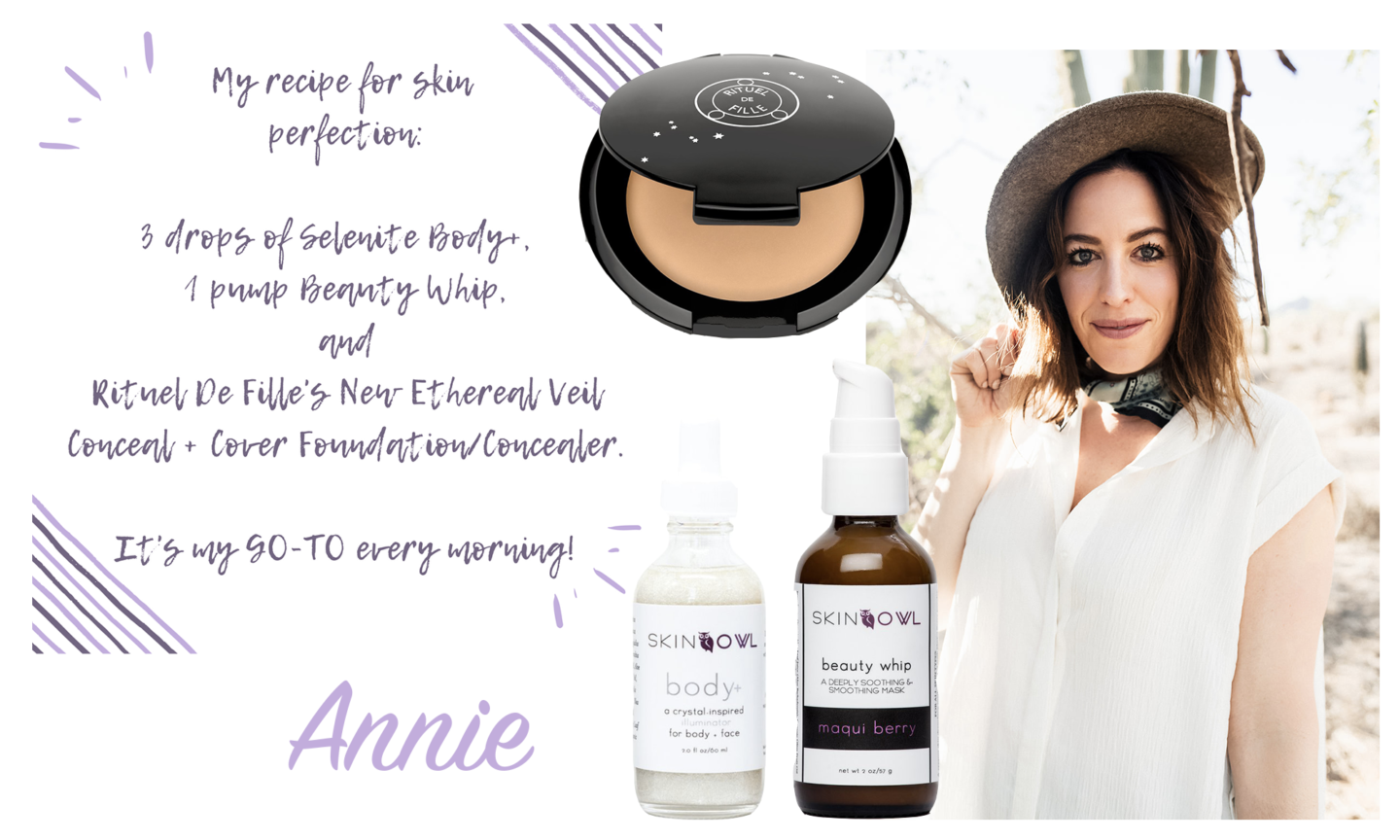 What We're Wearing || Green Beauty Edition | SkinOwl.com Annie uses Selenite Body+, Beauty Whip, and Rituel de Fille's Ethereal Veil Conceal + Cover foundation