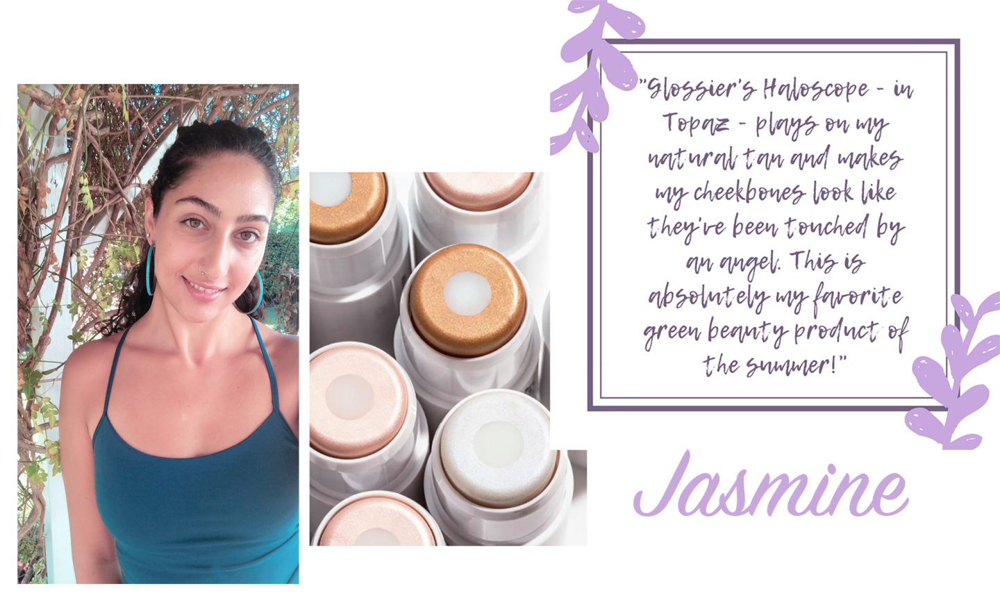 What We're Wearing || Green Beauty Edition | SkinOwl.com Jasmine has been loving the Glossier Haloscope in Topaz